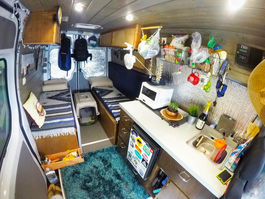 tiny living layout in a diy campervan conversion design