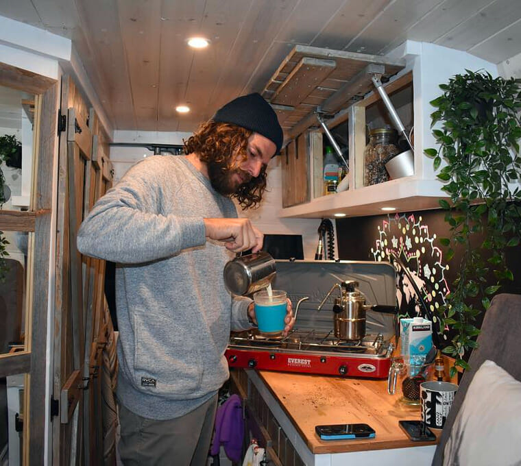 cooking in a van with a portable propane stove