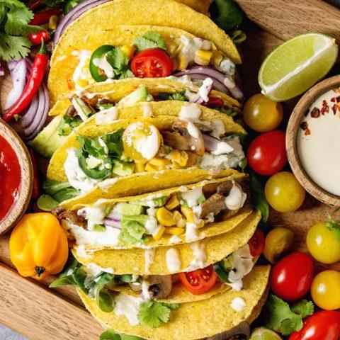 Vegetarian camping scrambled breakfast tacos