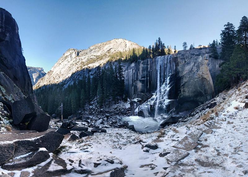 vernall falls at yosemite national park in winter