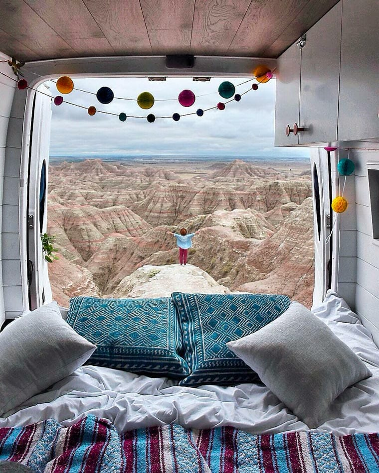 waking up in a campervan with a view
