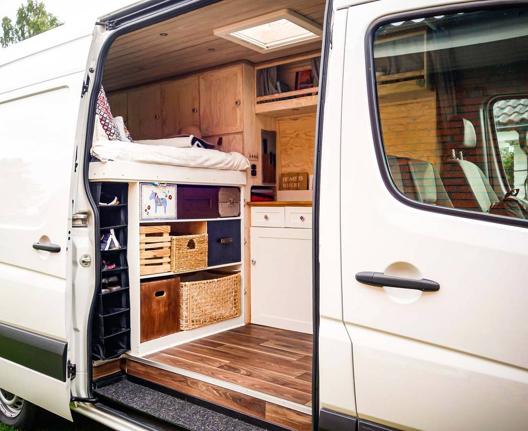 storage and organization in a #vanlife campervan conversion build
