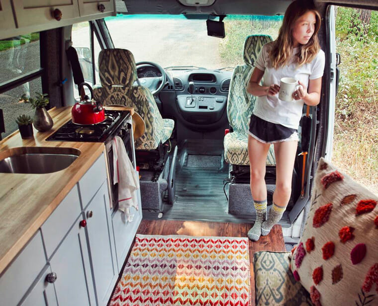 Girl living in a campervan conversion