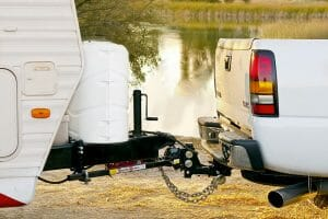 towing a travel trailer with a weight distribution hitch system