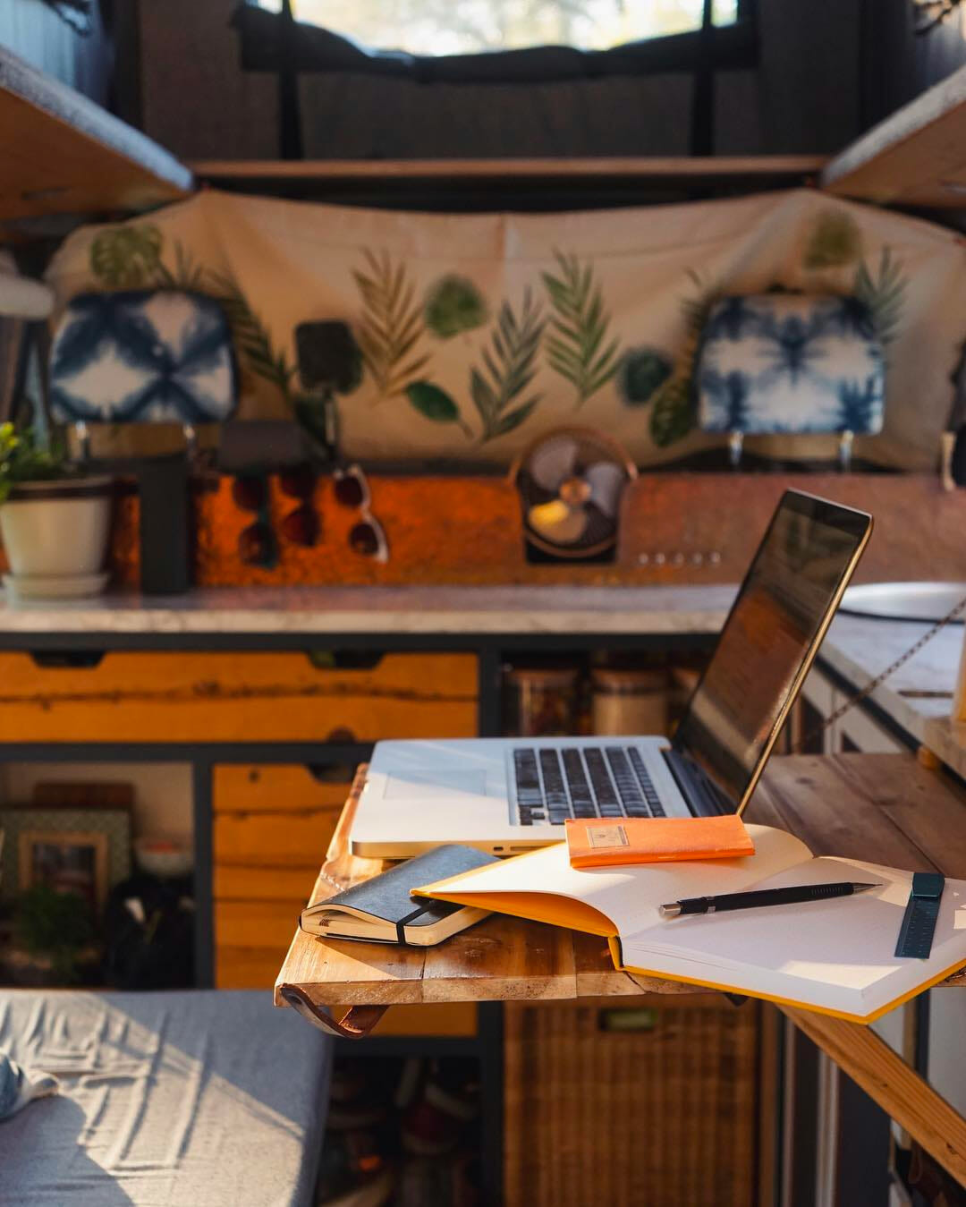 workspace ideas for building an office into a campervan conversion
