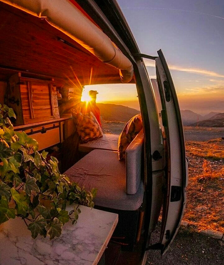 Views of the mountains from an adventure camper