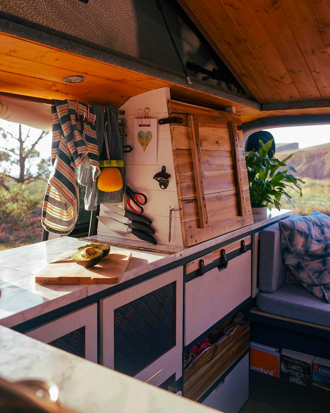 adding a fold out desk to a DIY campervan conversion