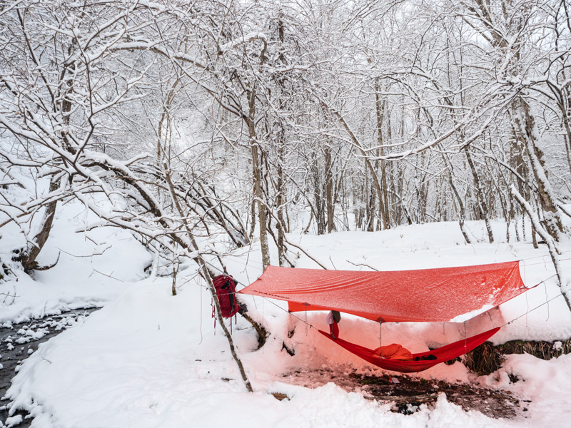 hammock pad and fly when snow camping in the winter