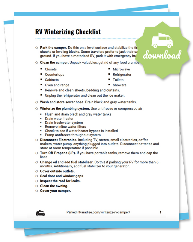 printable checklist to winterize an rv camper, motorhome, or 5th wheel travel trailer