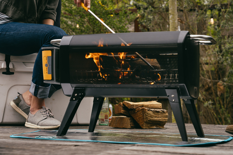 camping with a portable wood-burning fire table