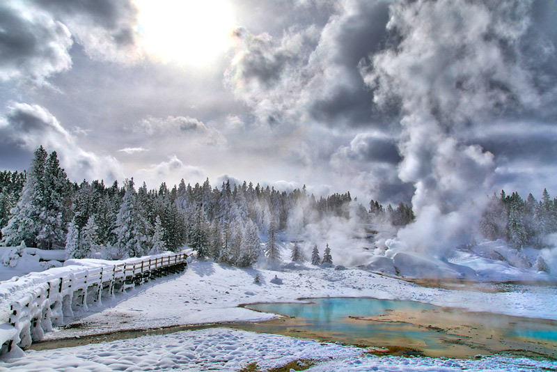 footpath to norris geyser basin in the snow