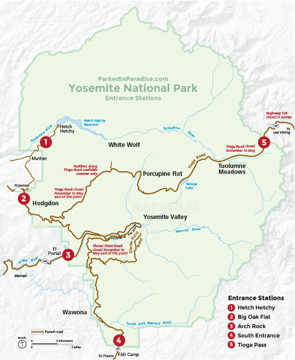 best entrance stations to get into yosemite national park with rv or camper van conversion