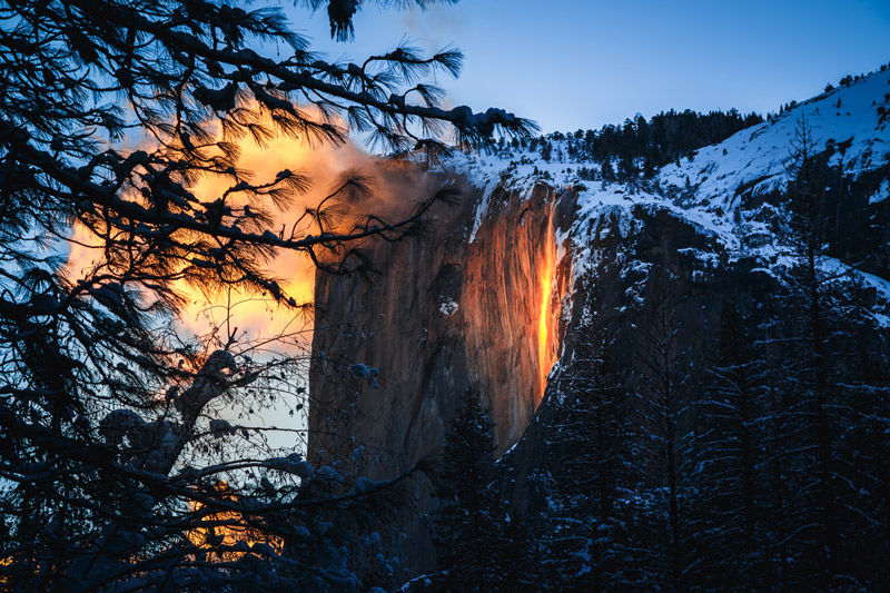 firefall at yosemite national park in winter