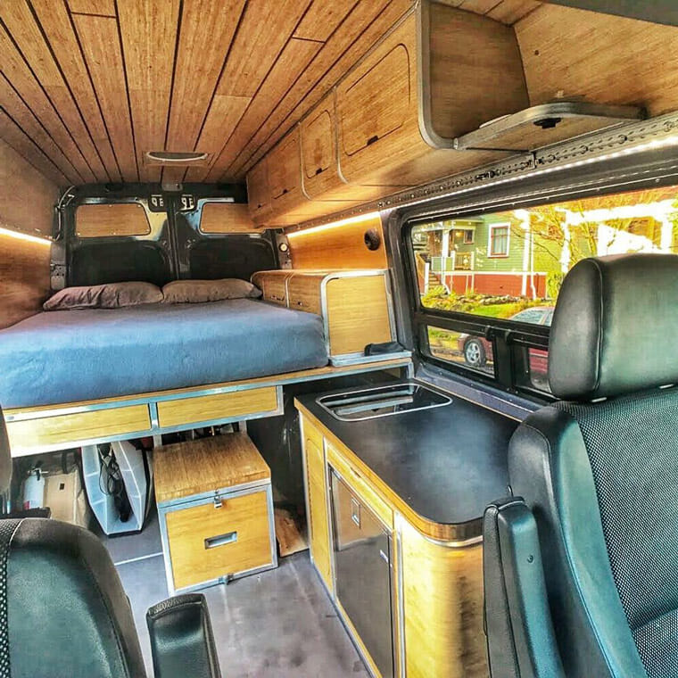 wood and metal diy camper van build interior
