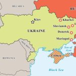 Ukraine crisis map. Pro-russians protests in the eastern cities.