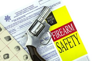 Concealed Weapon Permit CCW Application with fingerprint card and firearm safety brochure and Revolver Gun
