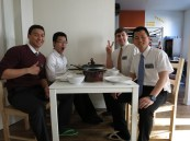 At home for Preparation Day - from left to right:  Me, Elder Kwang, Elder Cottle and Elder Ganjanakrit