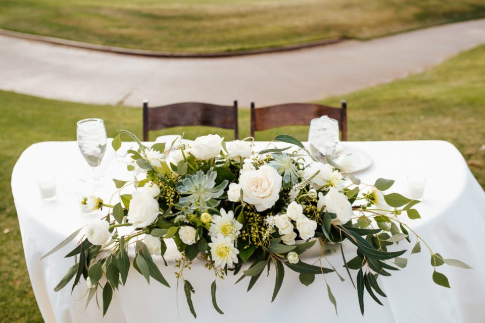 sage and white wedding florals