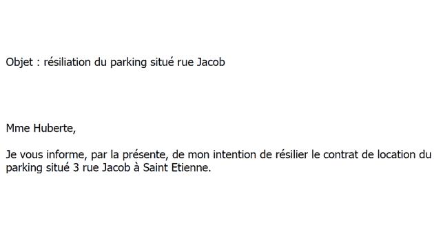 Lettre Type Gratuite De Resiliation D Un Bail De Parking Garage Ou Box
