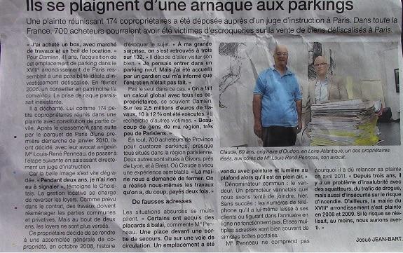 170 personnes porte plainte suite à un investissement dans des parkings à Paris
