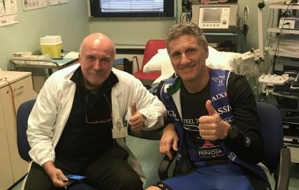 Con il dottore - e amico - Enrico Alfonsi all'Istituto Neurologico Casimiro Mondino di Pavia.