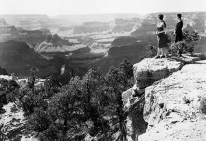 Shown is a view of the Grand Canyon looking west, Grand Canyon National Park, June 19, 1930. National Park Service photograph by George A. Grant.