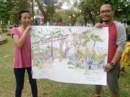 The finished sketch by Sketsaku [photo courtesy Ananta Wijaya]