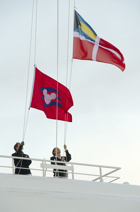 Raising of the Disney Cruise Line Flag