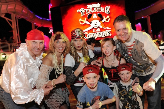 Many families embraced the ship's pirate-themed festivities with elaborate costumes