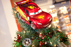 Holiday Tree Decorated by Employees at RIDEMAKERZ in Downtown Disney at Disneyland Resort