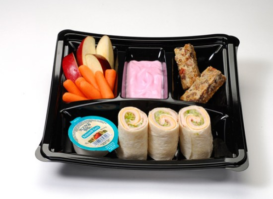 Kid's meal with turkey and American cheese wrap and strawberry yogurt, apples and carrots with ranch dip and seven-layer cookie bar, available at 'A Taste of Hollywood To Go –A Fantasmic! Dining Experience' at Disney's Hollywood Studios
