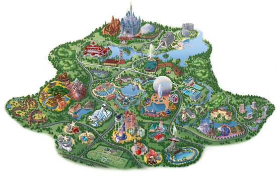 Map of Walt Disney World Resort as It's Been Developed Today