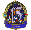 Closed Believe Pin from 13 Reflections of Evil Trading Event at Epcot