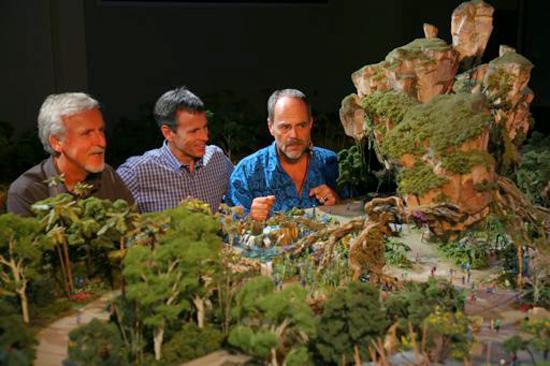 James Cameron, Walt Disney Parks & Resorts Chairman Tom Staggs and Imagineer Joe Rohde View a Model of the AVATAR-Themed Land Coming to Disney's Animal Kingdom at Walt Disney World Resort