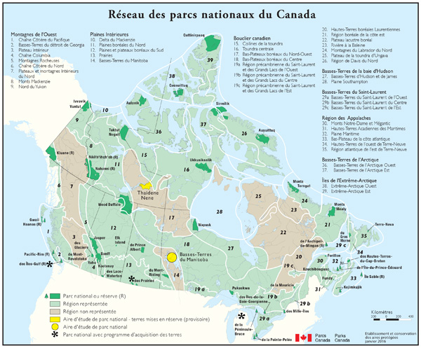 Map All National Parks Canada