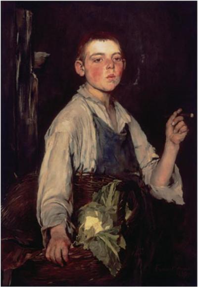Frank Duveneck, El aprendiz de zapatero, 1877. Óleosobrelienzo, 100,3 × 70,8 cm. Taft Museum of Art, Cincinnati.