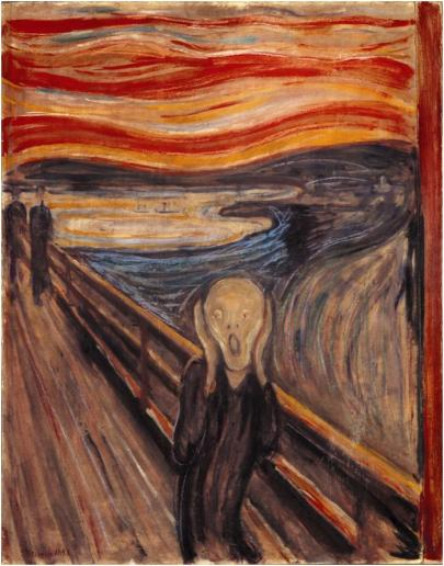 Edvard Munch The Scream, 1893.  Tempera and pastel on cardboard, 91 x 73.5 cm.  Nasjonalgalleriet, Oslo.