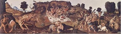 Piero di Cosimo, Batalla entre los lapitas y los centauros, c. 1500-1515. Óleo sobre madera, 71 x 260 cm. TheNationalGallery, Londres.