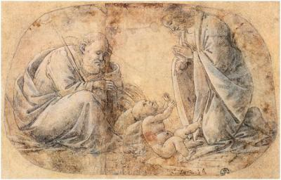 Sandro Botticelli, Study for The Adoration of the Child, c. 1495. Pen shaded with brown, white heightening, and pink wash, 16.1 x 25.8 cm. Galleria degli Uffizi, Florence.