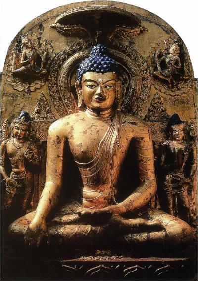 Seated Buddha in the lotus position, date unknown.  Bodh Gaya, Bihar state, India.