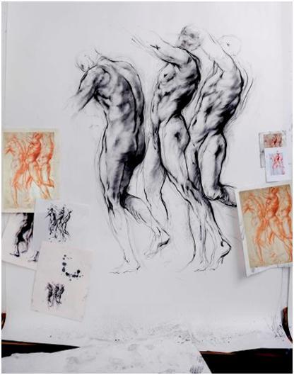 Ernest Pignon-Ernest, Étude d'hommes debout, d'après Jacopo Carucci dit Pontormo, 2013. Courtesy Galerie Lelong, Paris.