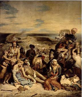 Eugène Delacroix, La matanza de Quíos, 1824.  Óleo sobre lienzo, 419 x 354 cm. Musée du Louvre, París.
