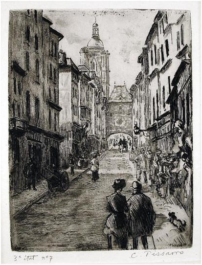 Camille Pissarro,Rue du Gros Horloge à Rouen, 1883-4. Aguafuerte y aguatinta  sobre papel verjurado de lavanda, 30 x 24 cm. Bibliothèque Nationale de France, París.