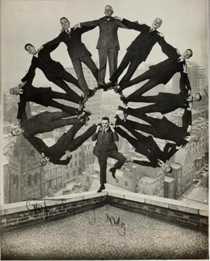 Unknown American Artist Man on Rooftop with Eleven Men in Formation on his Shoulders, c. 1930. Gelatin silver print. George Eastman House International Museum of Photography and Film, Rochester, New York. Courtesy of The Museum of Fine Arts, Houston.
