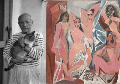 Left: Picasso's nonplussed cat averts his gaze from the camera Right: Could Picasso's masterpiece and disputed inspiration for the Cubist and Modern Art movement itself have been inspired by a cat?