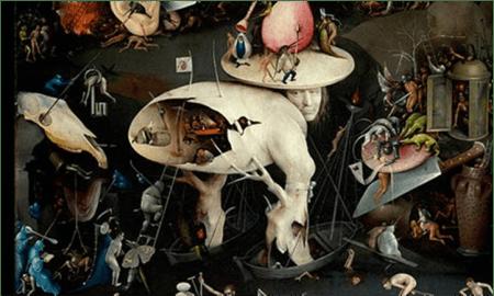 Hieronymus Bosch, Der Garten der Lüste, Tryptichon, rechter Innenflügel (Detail), 1500-1505. Öl und Grisaillemalerei auf Holztafel, 220 x 389 cm. Museo nacional del Prado, Madrid.