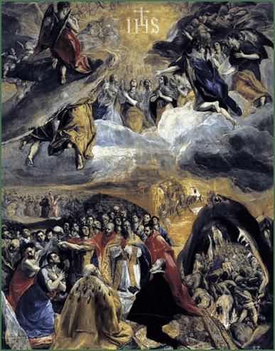 El Greco, Anbetung des Namen Jesu(Der Traum Philipps II.), 1577–1579. Öl auf Leinwand, 140 × 110 cm. El Escorial, San Lorenzo de El Escorial.