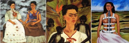 """Left to right: Frida Kahlo, The Two Fridas, 1939. Oil on canvas, 68 ¼"""" x 68"""". Museum of Modern Art, Mexico Self-portrait with Monkeys, 1943. Oil on canvas, 81.5 x 63 cm. Jacques and Natasha Gelman Collection, Mexico City Broken Column, 1944. 43 x 33 cm. Collection of Dolores Olmedo Mexico City, Mexico"""