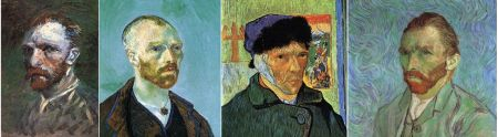 Left to Right: Vincent Van Gogh, Self-Portrait, Spring-Summer 1887, Paris. Oil on cardboard, 19 x 14 cm. Rijksmuseum Vincent van Gogh, Amsterdam Self-Portrait, September 1888, Arles. Oil on canvas, 62 x 52 cm. Fogg Art Museum, Harvard University, Cambridge Self-Portrait with Bandaged Ear, January 1889, Arles. Oil on canvas, 60 x 49 cm. Courtauld Gallery, London Self-Portrait, September 1889, Saint-Rémy. Oil on canvas, 65 x 54 cm. Musée d'Orsay, Paris