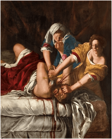 Artemisia Gentileschi, Judith Slaying Holofernes, c. 1620.   Oil on canvas, 158.8 x 125.5 cm. National Museum of Capodimonte, Naples